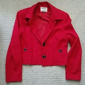 Vintage Cropped Red Blazer